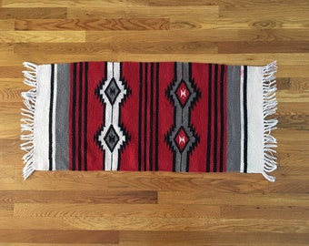 FREE SHIPPING* Red Navajo Southwestern Style Wool Woven Throw Rug or Table Runner