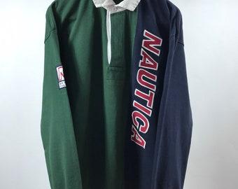 d507cc994 NAUTICA Blue Water Challenge Vintage 90s BIG LOGO Long Sleeve Jacket, Size L