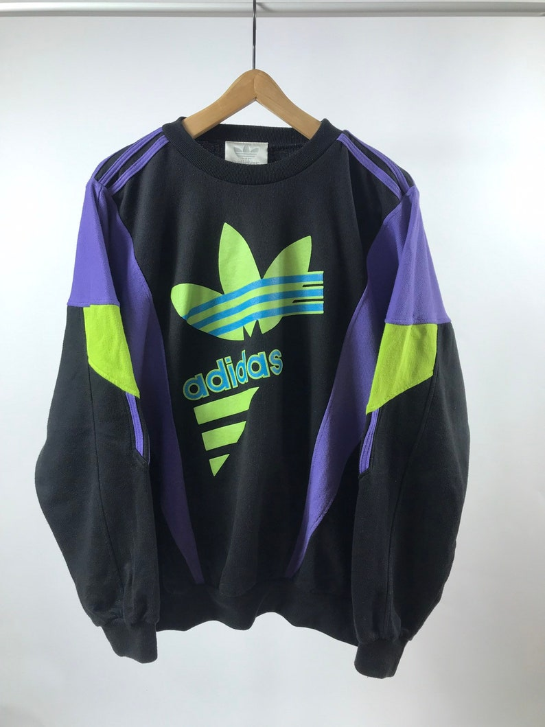 Rare Vintage ADIDAS ORIGINALS Multicolored Sweatshirt Three Stripes Big LOGO, Size L