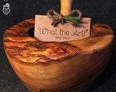 What the Art Olive Wood Le Mortier Olive wood mortar incl. pestle gift Ø 12cm Ø 14cm