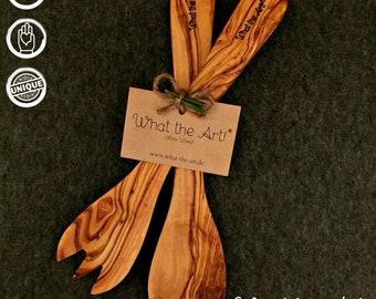 What the Art!® Olive Wood «Servidor» L   Olive wood salad servers + gift   30 cm