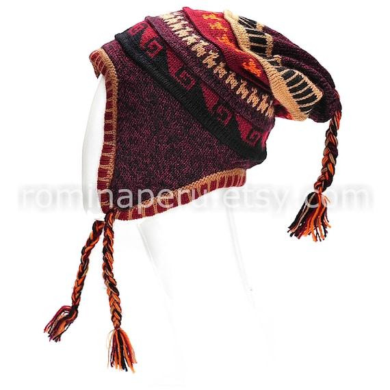 Cool purple with light gray reversible adult peruvian alpaca chullo hat