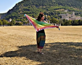 Rainbow baktus shawl with multicolored cotton crochet, crochet shawl