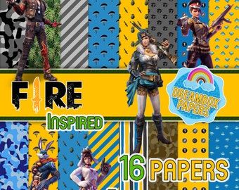 Free Fire Game Inspired, Garena, Digital Papers, Free Clipart, Backgrounds, Wallpapers, Instant Download, High Quality, Dreambox Papers