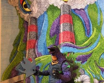 Heisei Godzilla spine keychain