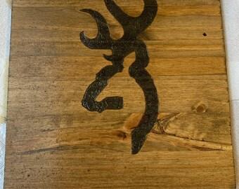 Browning woodburned sign