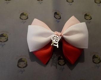 Sleeping Beauty Hair Bow with charm on clips