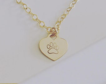 Pet remembrance necklace, pet memorial necklace, paw print necklace, dog jewelry personalized, paw heart pendant, pet necklace