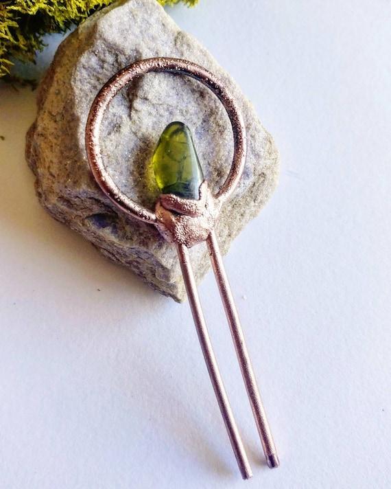 Peridot Hair Pin, Electroformed Hair Pin, Hair Pins, Crystal Hair Pin, Steampunk Hair Pin, August Birthstone, Peridot by Etsy