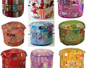 EXPRESS Shipping, Indian Patchwork Round Ottoman Pouf Cover 22 39 39 Decorative Ottoman Cover Bean Bag Sitting Pouf. FREE Shipping In USA, Uk.