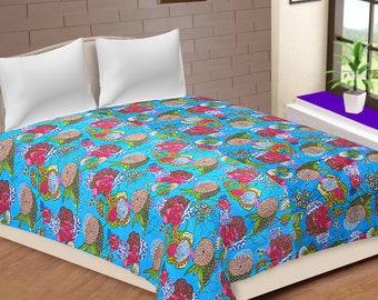 Fruit Print King Size Kantha Quilt, Kantha Bedspread, Bed Cover, Bohemian Bedding bedspread kantha throw