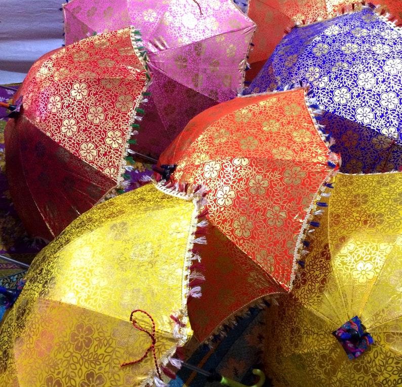 Handmade Umbrella Decorations Indian decor. Indian Handmade 2Pc Lot  Flower Golden Design Vintage Cotton colorful Umbrella multi color