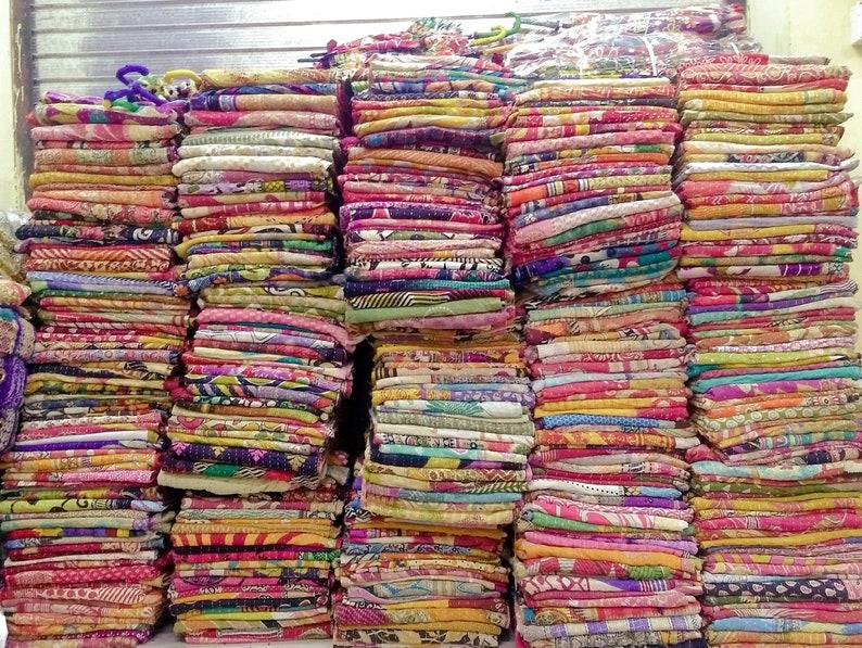Indian Handmade Kantha Quilt Gudri Reversible Vintage Saree Made Wholesale Lot