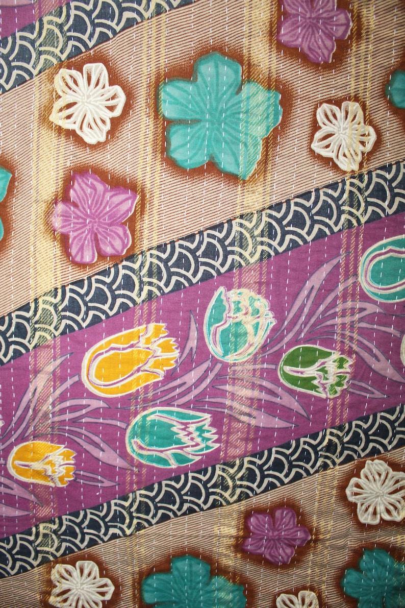 Indian Flower Printed Vintage Twin Kantha Quilts Hippie Home Decorative Bedding Quilts Patchwork Revresible Handmade Gudri