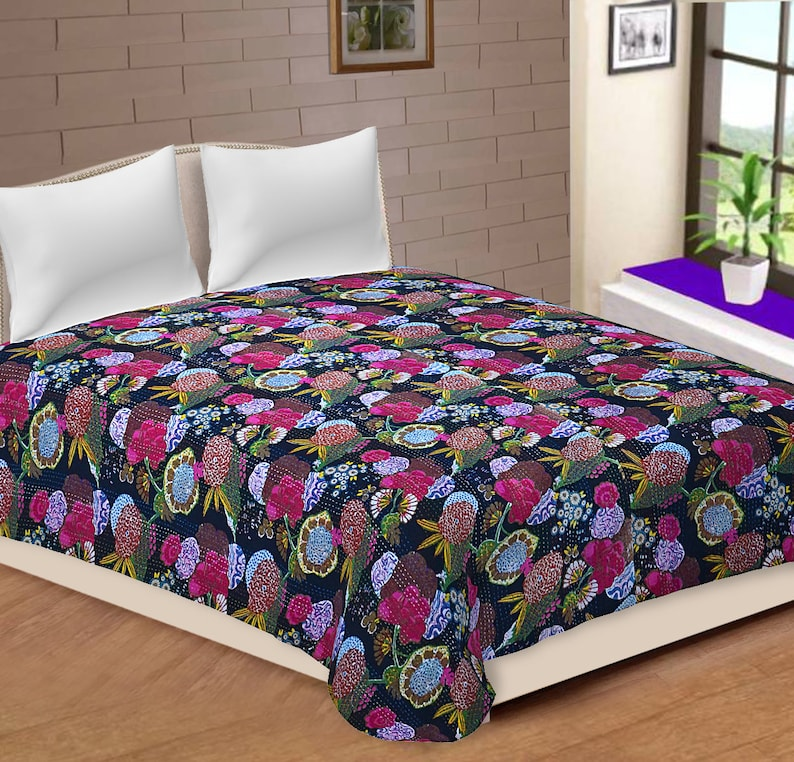 Cotton Patchwork Quilt Vintage Old Patola Indian Fruit Print Kantha Quilted Throws,Gudari Handmade Tapestery Queen Bedding