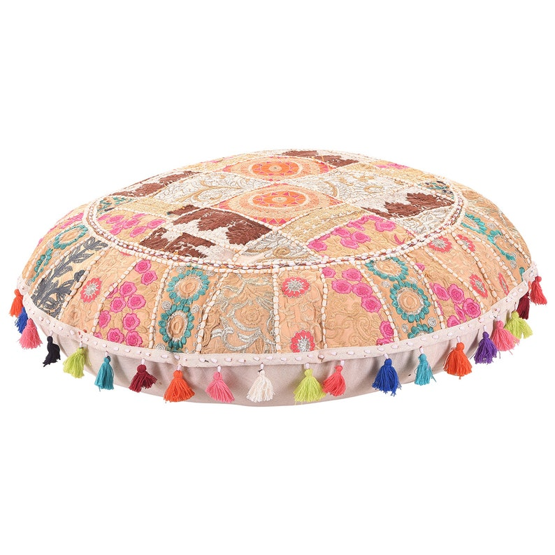 "22/"" Patchwork Round Floor Pillow Cushion in Black round embroidered pillow cover"
