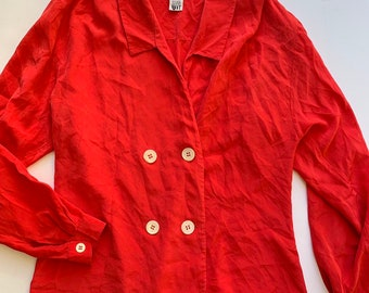 dfd144b9fdd Gorgeous Vintage 80s   90s CHRISTIAN DIOR 100% Red Silk Button Down Double  Breasted Shirt Blouse 8 Small   Medium
