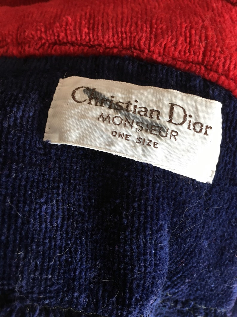 7fa8e6be8aaa Amazing vintage CHRISTIAN DIOR Monsieur Crest Logo Terrycloth Cotton Robe  Housecoat OS Rare