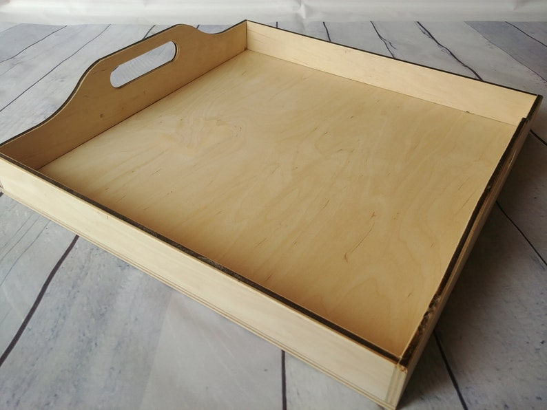 Large Serving Tray Unfinished Coffee Table Tray Wooden Ottoman Tray Breakfast Tray Wood Tray for craft Square Tea Tray