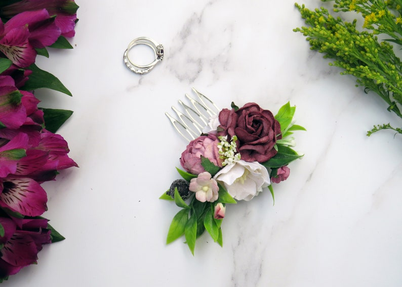 Mauve and Pink Hair Comb Flower Hair Comb Rustic Hair Piece