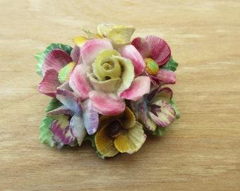 Vintage Ceramic Floral Spray Brooch