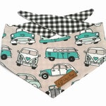 Cute dog Bandana with vintage cars, beetle, classic cars, black and white checkered dog scarf
