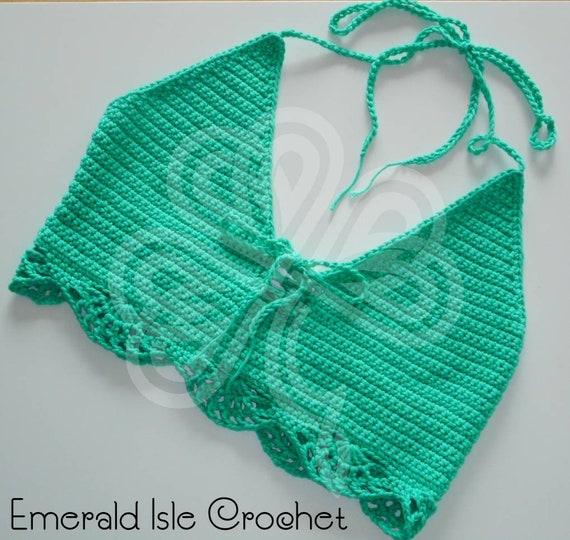38 to 40 Bust Large - Pattern by MermaidCatDesigns Handmade Crochet Bright Green Halter Bralette Crop Top