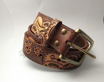Hand-tooled Steampunk Belt