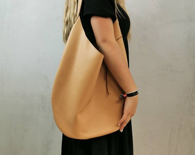 Large Leather Bag Nude / Leather Bag Bag / Slouchy Bag / Leather Hobo Bag = Leather Tote / Leather Shopper = Minimal