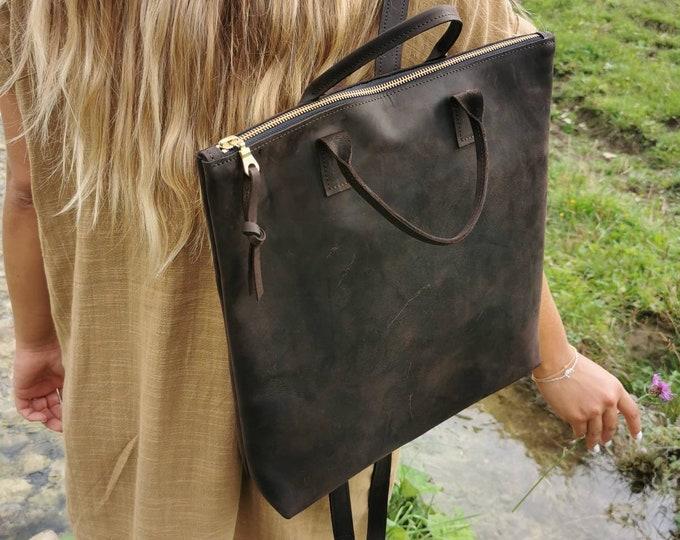 Minimalist backpack = women's backpack = brown leather backpack = brown leather backpack = chestnut