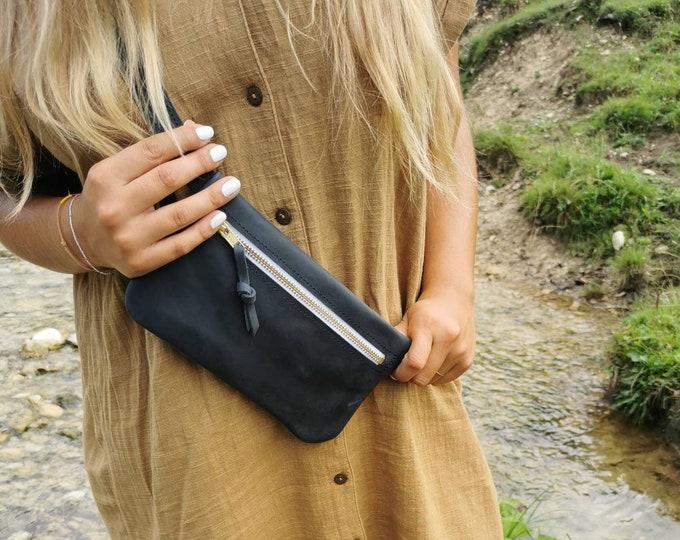 Dark blue leather belt bag / hip bag / hip bag / fanny pack / crossbody / boom bag _ crazy horse