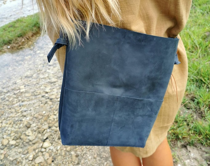 Dark Blue Leather Bucket Bag / Tote Bag / Dark Blue Leather Bag / Crossbody Bag