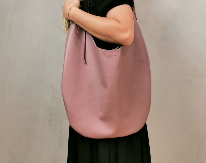 Large pink leather bag / leather bag bag / Slouchy bag / leather hobo bag / leather totes / old pink