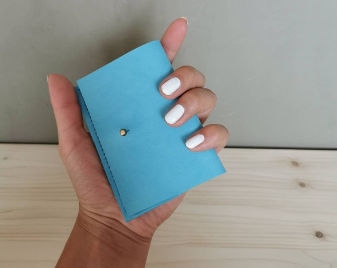 Mini leather wallet / small leather purse / leather card case / tiny wallet )