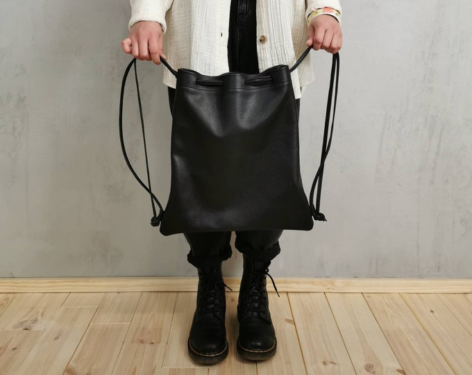 Women's Backpack / Gym Bag / Leather Gym Bag / Black Leather Bag / Slouchy Leather
