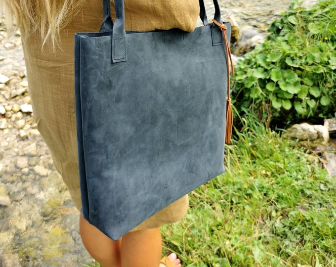 Blue leather shopper ) blue leather bag / big leather totes / tote bag / pull up leather / boho