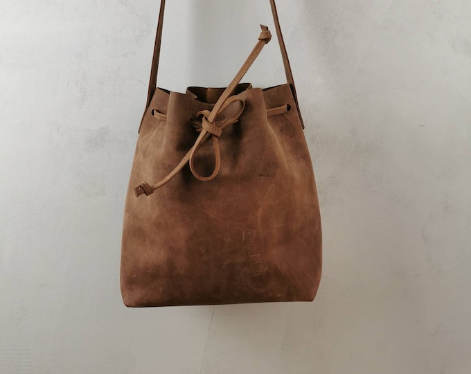 Bucket Bag Leather / Leather Bucket Bag / Brown Bucket Bag / Crossbody Bag / Boho