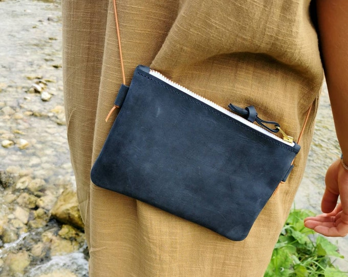 Dark blue mini bag / smartphone bag / crossbody bag / tiny bag )