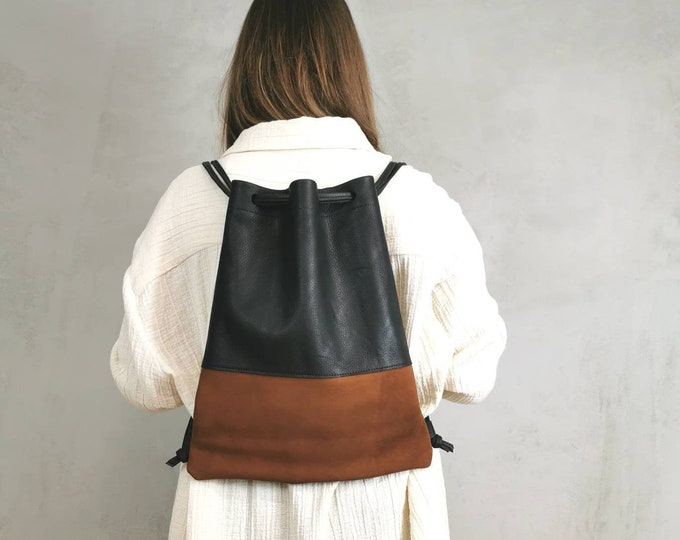 Women's Backpack / Gym Bag / Black Leather Bag / Slouchy Leather ) Two-tone