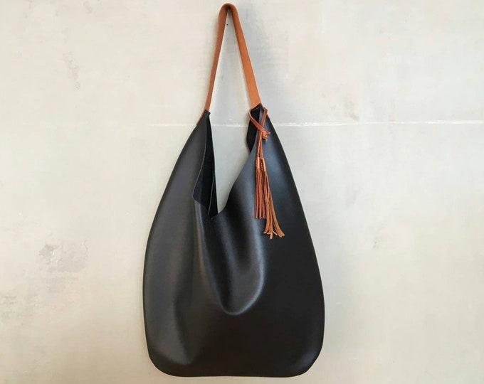 Large black leather bag / leather bag bag / slouchy bag / leather hobo bag / leather tote / boho
