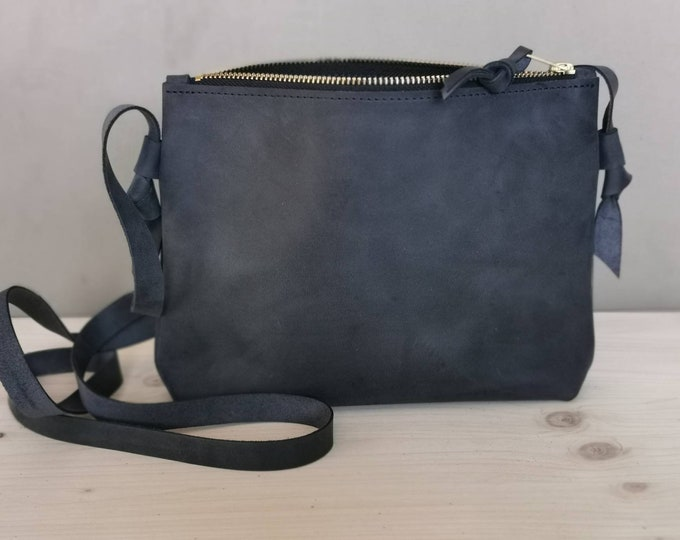 Small crossbody bag ) dark blue leather bag / blue leather bag / leather shoulder bag - boho