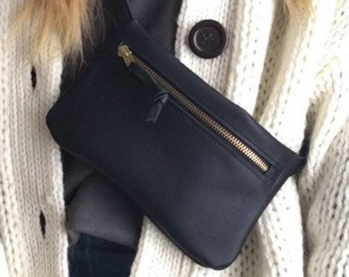 Black leather belt bag//hip bag//Hip bag//Fanny Pack//Cross body//Festival Bag//Boom Bag