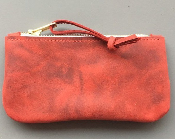 Small leather wallet, small leather clutch, small red leather purse, zipper bag, gift for girlfriend