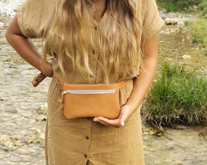 Camel brown leather belt bag / hip bag / hip bag / hip bag / fanny pack / crossbody _ natural tanned leather / boom bag
