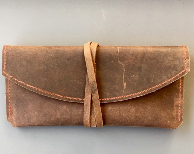 Leather Eyeglasses Case / Leather Case = Leather Clutch = Minimal = Brown