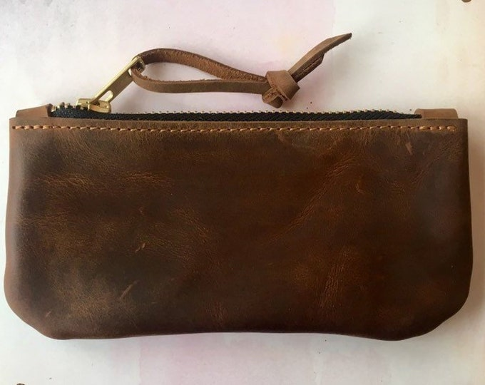 Small leather wallet / small leather clutch / small leather purse / zipper bag ) gift for girlfriend
