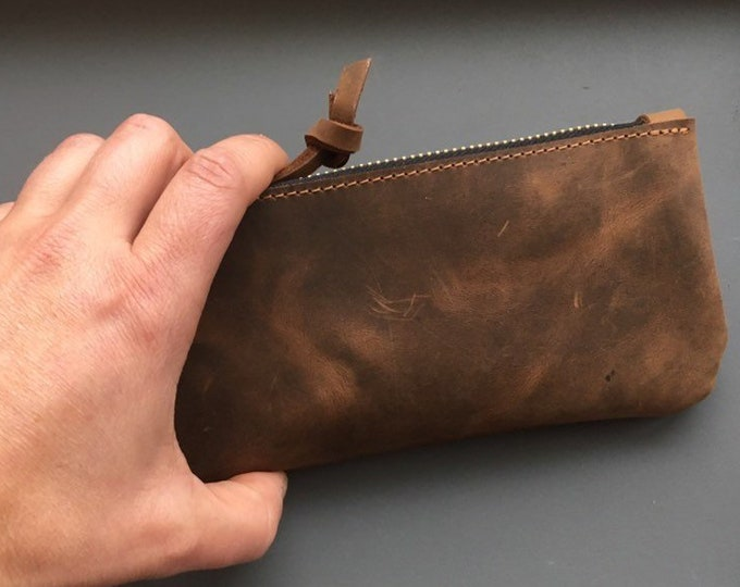 Real leather girl, little leather clutch, minimal, gift for Christmas