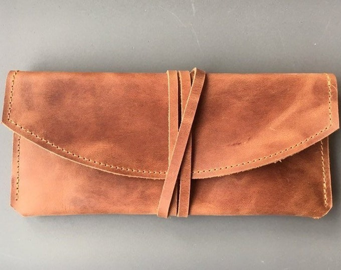 Leather glasses case, leather case, leather sunglasses case, leather clutch, minimal, brown