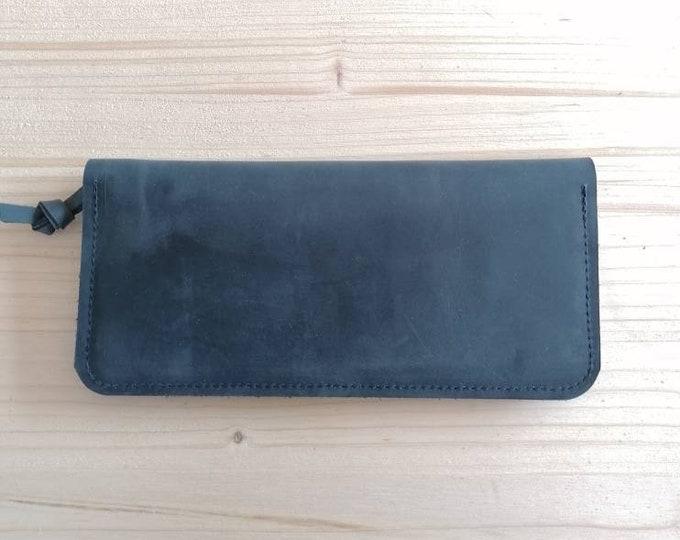 Dark blue leather purse ), blue wallet / leather wallet / ladies wallet )