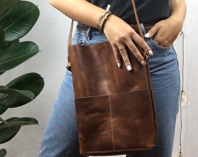 Brown leather bag tash//leather shopper//leather tasche//boho Leather Tote//Bucket Bag